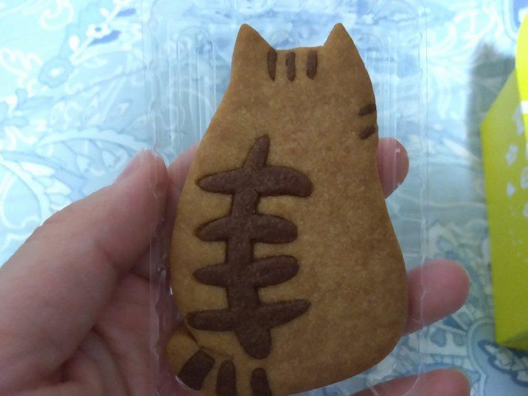 猫の形をしたサブレを持つ