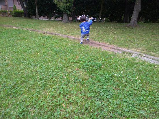 草っぱらを歩く子ども
