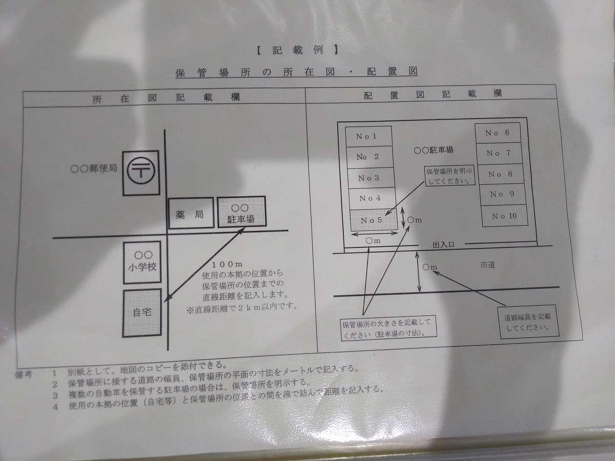 記入例【車保管場所の所在図】