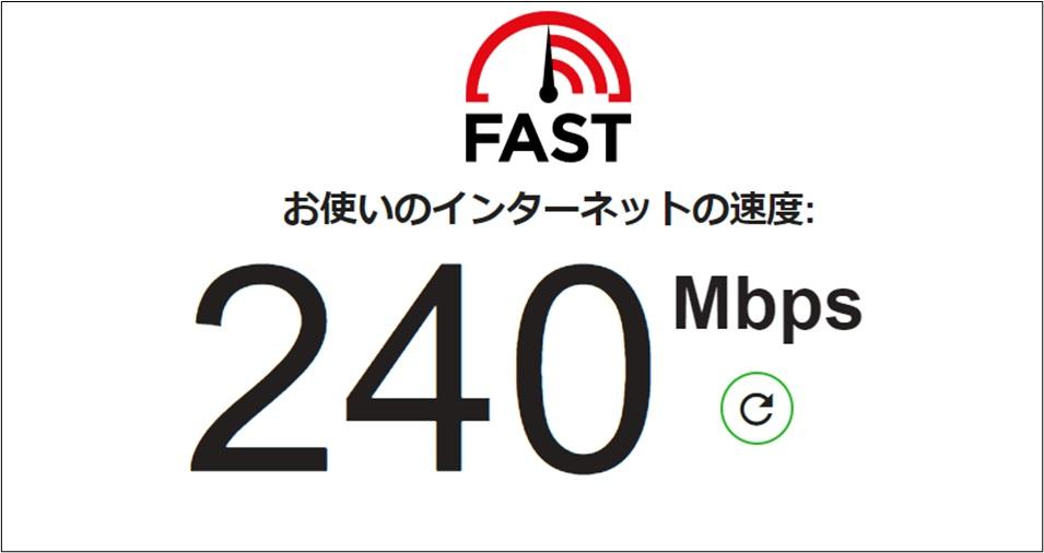 回線速度240Mbps