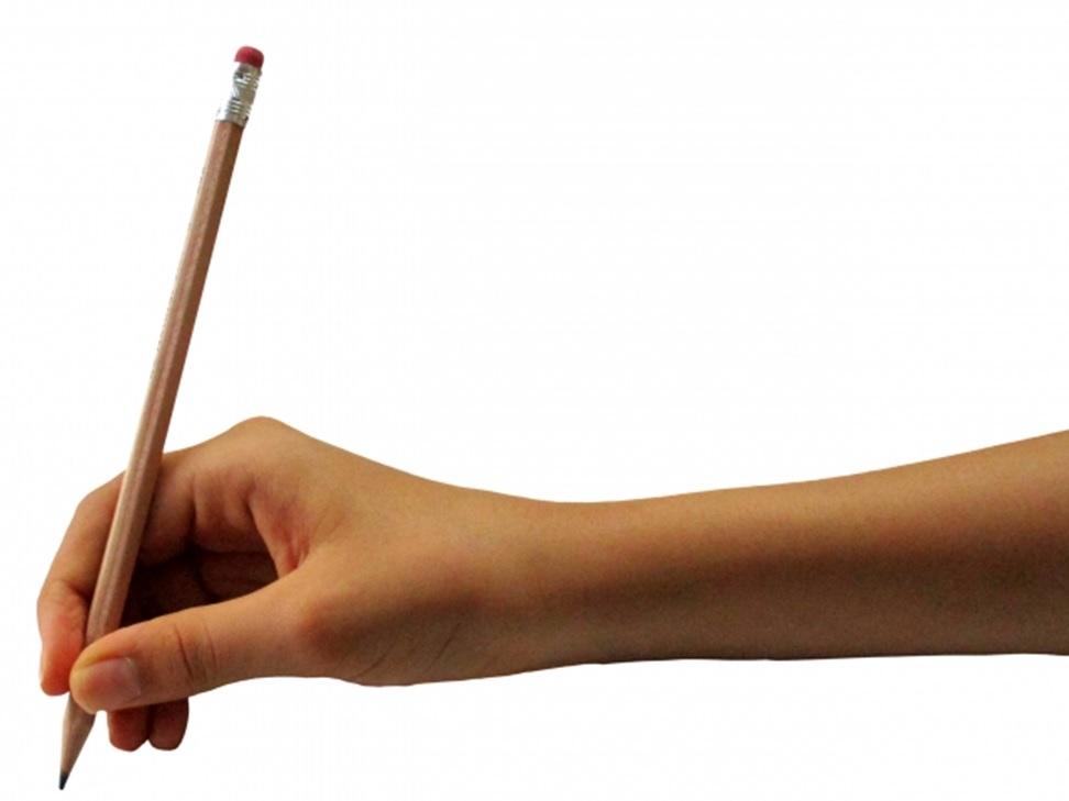 鉛筆を持った右手
