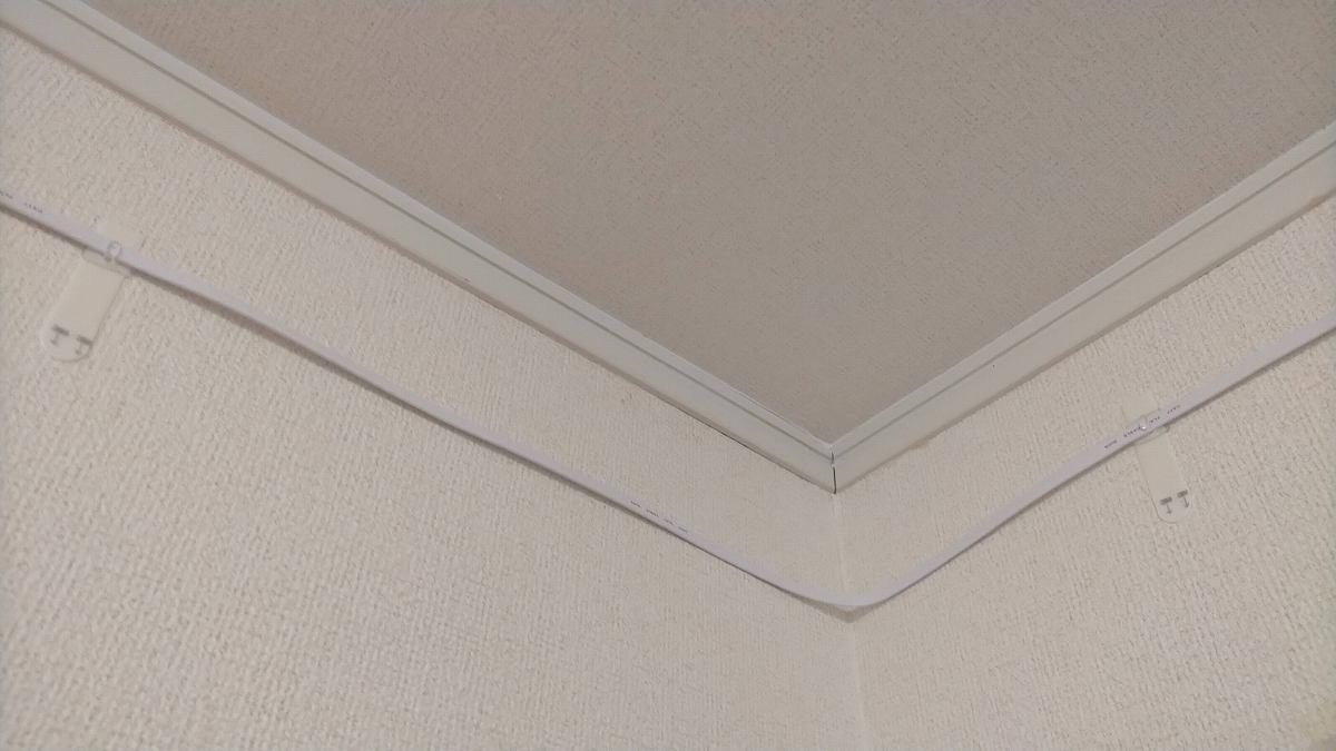 壁をつたう白のケーブル